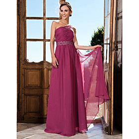 Sheath/Column One Shoulder Watteau Train Chiffon Evening Dress With Side Draping