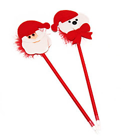 Christmas Stationery Little Bear Santa Claus Plush Toys Ballpen(Random Color)