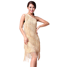 Performance Dancewear One-shoulder Chinlon with Tassels Latin Dance Dress More Colors