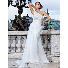 Sheath/Column One Shoulder Sweep/ Brush Train Chiffon Wedding Dress