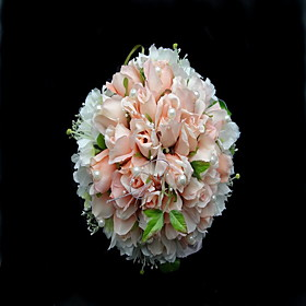 Lovely Satin/Cotton Round Shape Wedding Bouquet/Bridal Bouquet