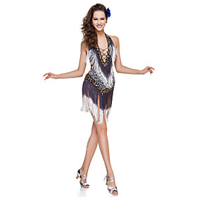 Dancewear Polyester With Tassels/Sequins Performance Latin Dress For Ladies More Colors