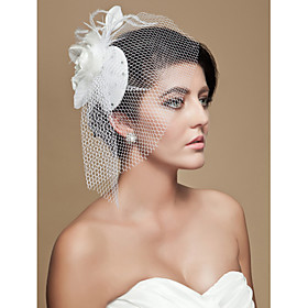 Luxurious Feather Tulle Wedding Bridal Headpiece