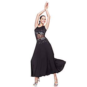 Ballroom Dancewear Polyester With Sequins Latin Dance Dress For Ladies