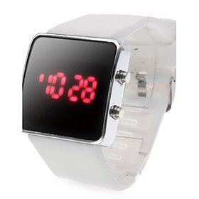 Unisex Sports Square Style Silicone LED Wrist Watch (White)