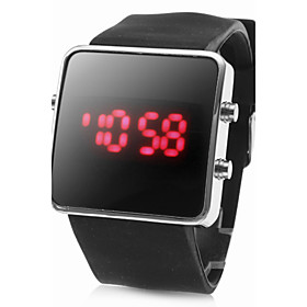 Unisex Silicone Style Sports Red LED Wrist Watch (Black)