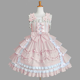 Sleeveless Knee-length Pink Cotton Aristocrat Lolita Dress