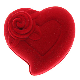 Red Flower Style Heart Shape Small Ring Gift Box (Contain 2 Boxes)