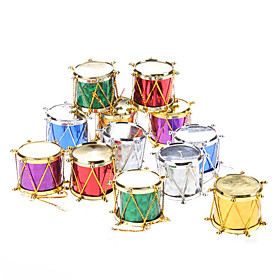 12-Pack 3cm 1 Sequin Drums Christmas Ornaments Pack