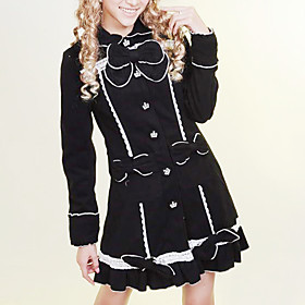 Long Sleeve Black and Pink Cotton Sweet Lolita Coat with Bow
