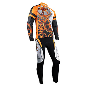 Santic Fashion Designed Winter-Style 100% Polyester and Fleece Cycling Suits (Orange and Black)
