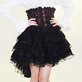 Knee-length Black and Red and White Cotton Gothic Lolita Skirt