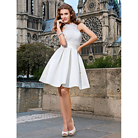 A-line V-neck Knee-length Organza And Satin Wedding Dress