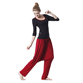 Environmental Protection Cotton Long Sleeve Simple Sports Yoga Suit (Black Tops Red Pants)