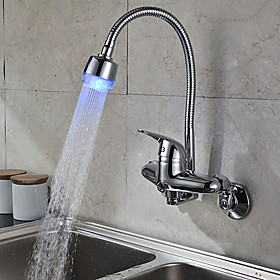 Chrome Finish Single Handle Color Changing LED Wall Mount Kitchen Faucet