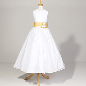 Sleeveless Organza And Satin Wedding/Party Flower Girl Dress