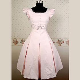 Sleeveless Knee-length Pink Cotton Classic Lolita Dress with Bow