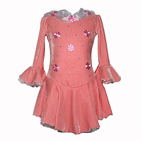 Girl's Velour Figure Skating Dress (Pink)