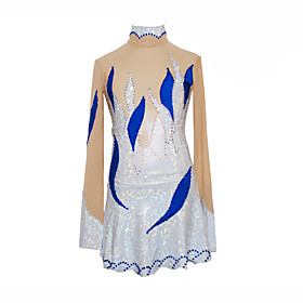 Girl's Petal Style Figure Skating Dress (Silver)