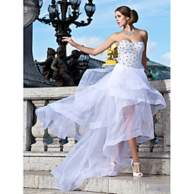 A-line Sweetheart Asymmetrical Organza Evening Dress
