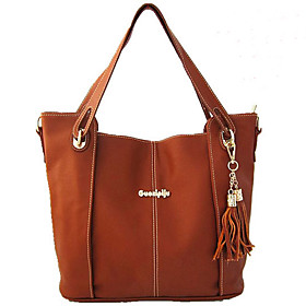 Women's Casual Contrast Color Tassels Leather Tote(34 13.5 32CM)
