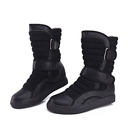 YiJie-Newest Women's Fashion Black Warm Mid-Calf Boots