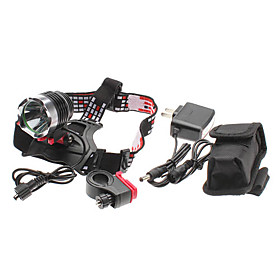 ANOWL Zoom 3-Mode Cree XM-L T6 LED Rechargeable Headlamp Set with Mounting Bracket (10w, 1000LM)