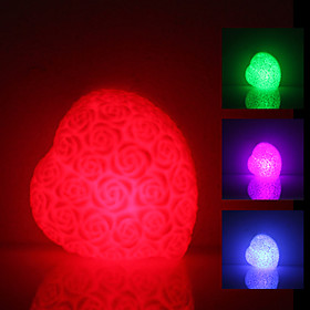 Rose Heart Shaped Colorful Light LED Night Lamp (3xLR44)