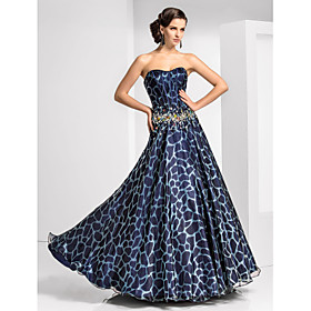 A-line Sweetheart Floor-length Organza And Satin Evening Dress With Pattern/Print