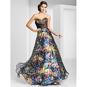 A-line Sweetheart Floor-length Organza Evening Dress With Pattern/Print