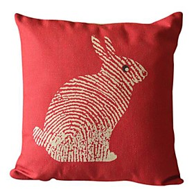 Rabbit Cotton/Linen Decorative Pillow Cover 041