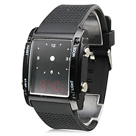 Digital   Analog Dual-Time Mens Wrist Watch with Weekday Display - Black (2 CR1120)