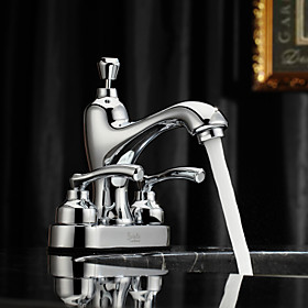 Sprinkle by Lightinthebox - Chrome Finish Centerset Two Handles Brass Bathroom Sink Faucet
