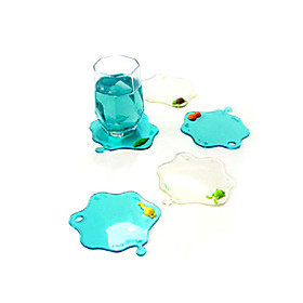 Water-Drop Shaped Blue Cup Mat