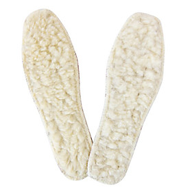 White Warm Wool and Leather Shoe Pads (1 Pair,Unisex)