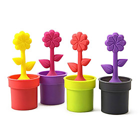 Potted Plant Design Silicone Tea Filter Strainer (Random Color)