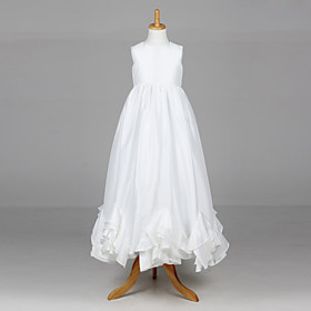 Beautiful Sleeveless Satin Wedding/Evening Flower Girl Dress