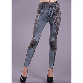 Women's Fashion Denim Leopard Legging(Waist:58-79,Hip:90-104,Length:95CM)