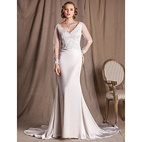 Sheath/Column V-neck Court Train Lace And Satin Wedding Dress
