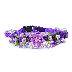 Inflorescence Insert Button Collar with Little Bell and Lace for Dogs (Assorted Color)