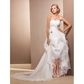 A-line Sweetheart Asymmetrical And Chapel Train Organza Wedding Dress
