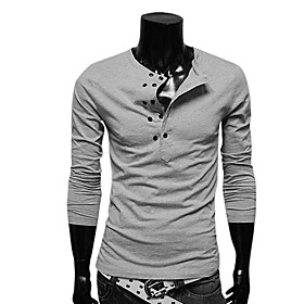 Men's Cheap Gray Organic Cotton Long Sleeve Double-Breasted Shirt(Assorted Sizes)