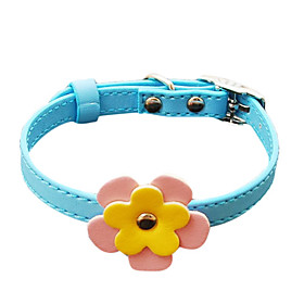 Double Flowers Imitation Leather Button Collar for Dogs (Assorted Color)