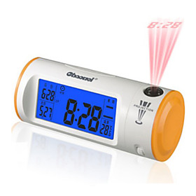 4 LCD Backlit Sound Activated Digital Alarm Clock Calendar Thermometer with Time Projection (Random