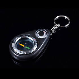 Black Outdoor Plastic Camping Keychain with Compass And Thermometer