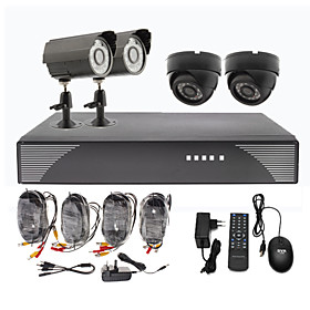 2 Outdoor And 2 Indoor Day Night CCTV Home Video Surveillance Security Camera Kit