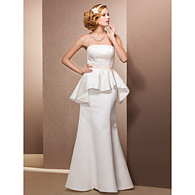 Trumpet/Mermaid Strapless Floor-length Satin Wedding Dress