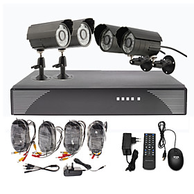 4 Outdoor Day Night CCTV Home Video Surveillance Security Camera Kit