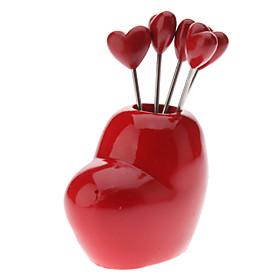 Sweet Heart Style Snack Fruit Picks Forks