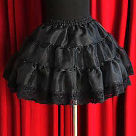 Short Cotton and Organza Casual Lolita Skirt with Pumpkin Shorts(2 Colors)